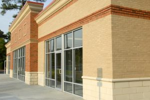 Tile and stone work on new commercial building